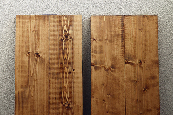 1×6材の棚板をワトコオイルで着色