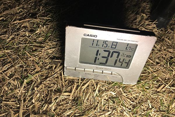 峰山高原/深夜1:30の幕内温度