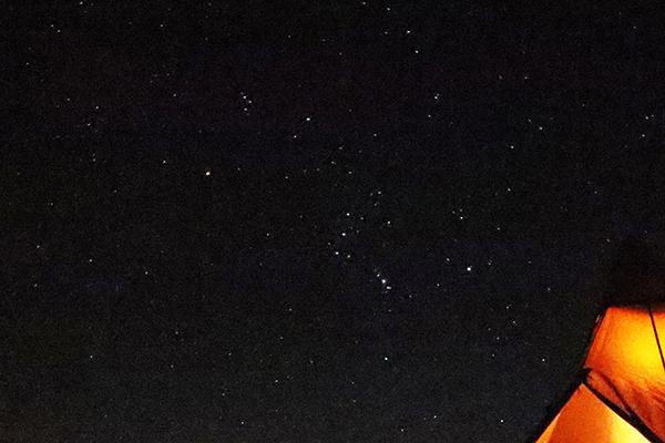 峰山高原キャンプ場で撮影したオリオン座
