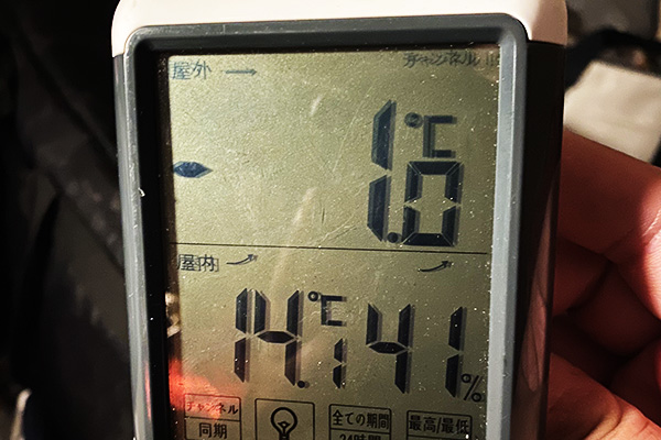 午前3時の外気温は-1℃