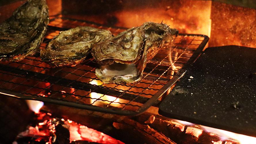 焚き火で牡蠣を蒸し焼き