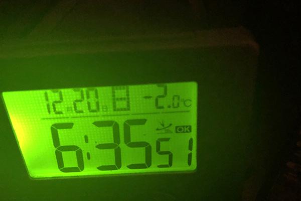朝の幕内温度-2℃