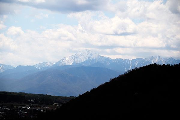 姫木平からの帰りに見た雪山