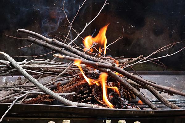 松ぼっくりと枯れ枝に火をつける